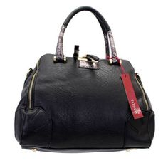 Purple Leopard Boutique - Black Handbag Purse Faux Leather Bag Silver Metallic Snake Skin
