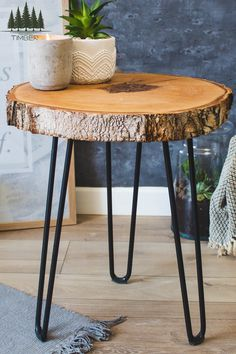 I love to introduce natural elements to modern interiors. It creates a unique atmosphere and emphasizes the unique character of your home. This wooden table just does it! 😍 Visit to see more wooden table Tree Trunk Table Rustic Nightstand, Wooden Bedside Table, Wooden Tables, Bedside Tables, Trunk Side Table, Tree Trunk Table, Black Side Table, Metal Side Table, Wood Table Rustic
