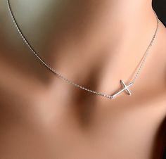 "All Sterling Sideways Cross Necklace, minimalist jewelry, 16"", sterling jewelry, dainty necklace, sideway. $26.00, via Etsy."