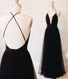 Black Tulle Floor-length Prom Dress with Plunging Neckline and Open Back