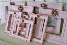 Pink frame grouping embellished with roses shabby chic set of eight wood and resin wall decor anita spero