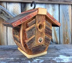 Unique Barnwood Birdhouse recycled reclaimed by CampbellWoodworks