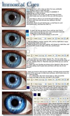 Enhancing Eyes in Photoshop by ~Kizzuh on deviantART want to turn your photos into fantasy art work - these eyes might do that