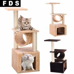 "Deluxe 36"" Cat Kitten Scratch Post Tree Condo Furniture Play Toy Beige House"