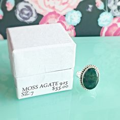 NIB GREEN MOSS AGATE GEMSTONE STERLING SZ 7 RING Size: 755.00 RETAILOval green moss agate gemstone ring with 925 SS overlay. COMES WITH BOX NO TRADES ❌QUESTIONS FROM NON SERIOUS BUYERS DO NOT ASK FOR A BUNDLE UNLESS YOU INTEND TO BUY ✂️DO NOT LOWBALL ⛔️NO PRICE COMMENTS-USE OFFER BUTTON ⁉️PRICE IS FIRM AND REFLECTED ON FEES AND OUT OF POCKET COSTS Brooke's Gems Jewelry Rings