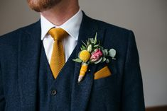Yellow Craspedia billy button Buttonhole Relaxed Industrial Wedding at Ocean Studios Plymouth Bespoke Ailsa Monroe Jumpsuit Cape Bridal Outfit Bright Flowers Including Proteas Freckle Photography Mustard Wedding Colors, Spring Wedding Colors, Blue Suit Wedding, Wedding Ties, Wedding Navy, Gothic Wedding, Wedding Bride, Wedding Favors, Wedding Flowers