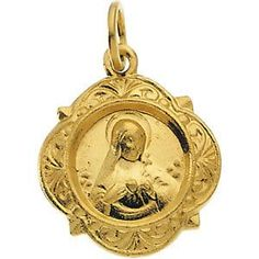 14kt Yellow Gold 12.14x12.09mm Immaculate Heart of Mary Medal | 1.15 Grams | Jewelry Series: R16990
