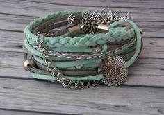 Wrap Bracelet boho chic Women's Wrap Bracelet Fashion Bracelet  double wrap bracelet - Lucky bracelet - mint - summer (18.00 USD) by SilkHandsJW
