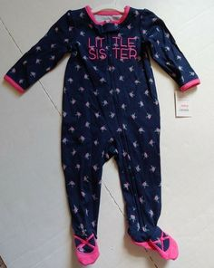 8e9cac6f8 Carters Just One You Infant Little Sister Blue/Pink Sleeper Footed Size 9  MO #