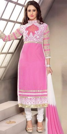 Marvelous Pink And White Cotton Straight Salwar Suit With Chiffon Dupatta.