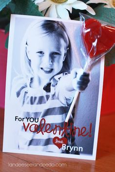 homemade photo valentines' cards with lollipops -- so cute and personalized!