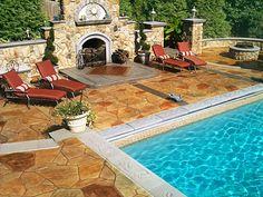 cour en bton les terrasses de piscine rver cour patios bton estamp oasis en plein air piscine pool yard plans backyard patio pool ideas - Cour En Beton Color