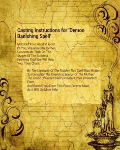 Casting instructions for 'demon banishing spell' Banishing Spell, Healing Spells, Hoodoo Spells, Magick Spells, Wiccan, Witchcraft, Magic Spell Book, Witch Spell Book, The Witcher