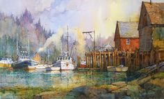 "Ian Ramsay Watercolors Camden Inner Harbor, Maine 12"" x 20"" watercolor SOLD available at Settlers West Gallery, Tucson, Arizona"