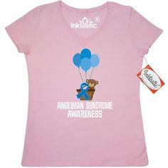 Inktastic Angelman Syndrome Awareness Bear Women's V-Neck T-Shirt Support Walk Event Blue Ribbon Childs Month Rare Disease Clothing Apparel Tees Adult Hws, Size: XL, Pink
