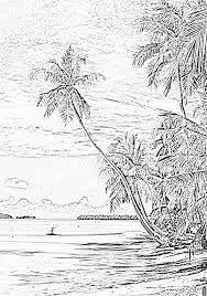 R sultat de recherche d 39 images pour dessin paysage - Coloriage tahiti ...