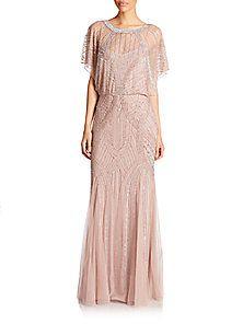 Aidan Mattox - Dolman-Sleeve Beaded Godet Gown <br>