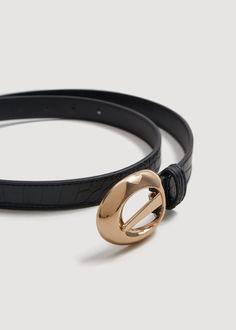 Metal buckle belt - Woman | MANGO Greece