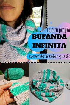 Aprende a tejer una bufanda infinita a crochet T Youtube, Diy Crochet, Friendship Bracelets, Free Knitting, Crocheting, Tejidos, Woman, Friend Bracelets