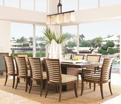 Tommy Bahama Home Ocean Club <b>Quick Ship</b> Kowloon Arm Chair with Horizontal Slats - Baer's Furniture - Dining Arm Chair