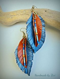 Items similar to long leather earrings, leaf earrings, blue earrings, leather earrings, brown earrings . Diy Leather Earrings, Brown Earrings, Diy Earrings, Leather Jewelry, Leaf Earrings, Feather Earrings, Hoop Earrings, Fabric Jewelry, Beaded Jewelry