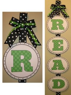 Polka Dot READ Banner - Lime Green, Turquoise, Black, and Pink ~Pinned by www.FernSmithsClassroomIdeas.com