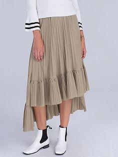 Khaki High Waist Ruffle Asymmetric Hem Pleated Midi Skirt