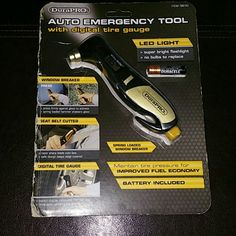 Auto Emergency Tool With digital tire gauge new in package. Durapro Accessories