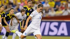 Fara Williams scores from the penalty spot against Colombia
