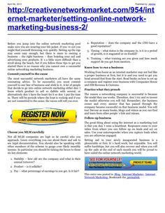 setting-up-youronlinenetworkmarketingbusinessnew by retrofaz via Slideshare
