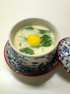 Chawanmushi, Japanese Egg Custard (Topped with Yuzu citrus peel and Mitsuba leaves) 茶碗蒸し