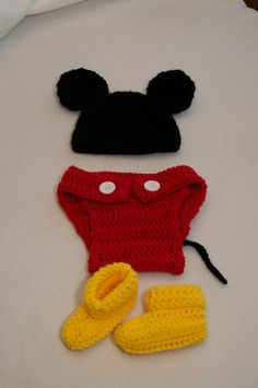 Baby Mickey Mouse set sold on etsy by LittlestDumplings.  This is so cute!