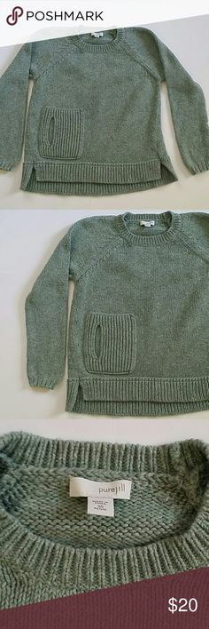"""Pure Jill Knit Sweater 55% cotton 25% wool 20% nylon  Armpit to armpit 16"""" Front length 17.5"""" Sleeve 21.5 Back length 22 Pure Jill Sweaters"""