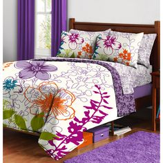 Multi-Floral Bed in a Bag Bedding Set, $39.96.  I think she's picked out her set!