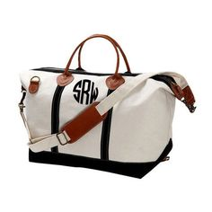 Monogrammed Canvas Weekender Bag- Monogrammed Canvas Overnight Bag-... ($80) ❤ liked on Polyvore featuring bags and luggage
