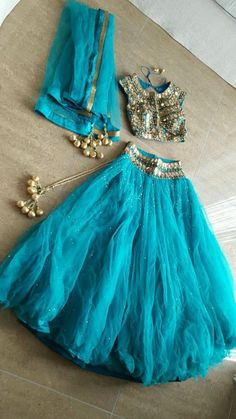Blue Lengha Ghagra Size 8/10 (Seasons Mumbai Original Piece)