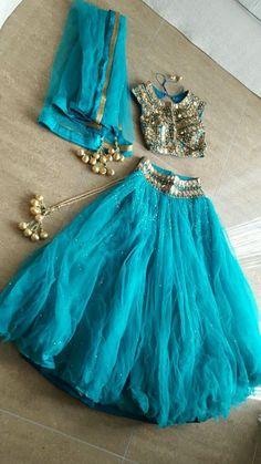 Blue Lengha Ghagra Size 8/10 (Seasons Mumbai Original Piece)
