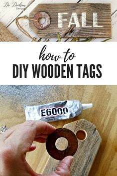 Easy Woodworking Projects How to make wooden tags in 6 easy steps. Wood Projects That Sell, Wood Projects For Beginners, Diy Wood Projects, Wood Block Crafts, Wooden Crafts, Wooden Diy, Wooden Signs, Wood Blocks, Woodworking Books