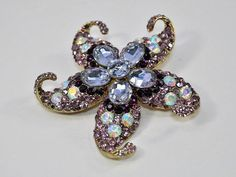 Purple Starfish Brooch rhinestone Starfish Brooch by TheBrightShop