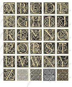 Celtic Alphabet - 1x1 inch tiles - Digital Collage Sheet CG-193 - 2