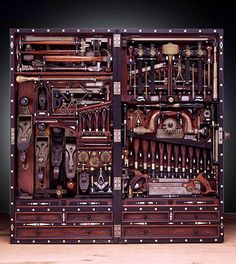 serious tool chest! This man took years building this chest.....he was a carpenter and machinist....from details you can see he was a Free Mason.i could see my son Josh enjoying this one!