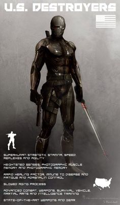 Sci-fi future soldier in armor - future U.S. special forces