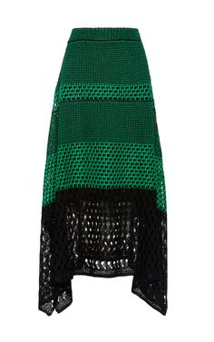 Open Stitch Midi Skirt With Handkerchief Hem by PROENZA SCHOULER Now Available on Moda Operandi