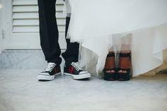 Black&White Wedding  Converse All Star Groom Black Heels Bride www.weddinglam.it