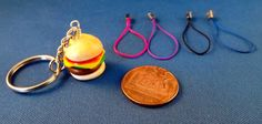 Handmade Polymer Clay Burger Key ring Lanyard by KooshyJewellery, £4.00