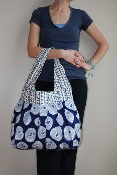 Navy Blooms Sling Bag by stitch248 on Etsy, $65.00