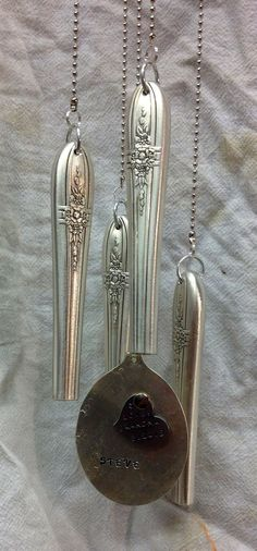 """Custom order stamped silver spoon, fork & knife windchime (part of a Remembrance set from 1 box of vintage/antique silverware) with removable keychain """"gong""""- made for Julie's Junquetique on etsy.com (4 of 5 pictures)"""