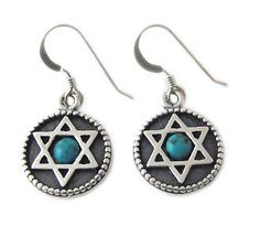 SILVER STAR OF MAGEN DAVID EARRINGS WITH TURQUOISE GEMSTONE #jewelry #earrings #beautiful #judaica #starofdavid #turquoise