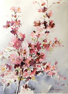 Watercolor And Ink, Watercolour Painting, Watercolor Flowers, Watercolors, Mediums Of Art, Beautiful Nature Wallpaper, China Art, Watercolor Techniques, Watercolor Landscape
