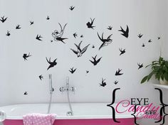 60 swallows, 3 large detailed ones and lots of smaller ones- many more than are in this picture - choose the colour of your choice! Office Signage, Office Branding, Car Wall Art, Vinyl Wall Art, Fine Art Prints, Canvas Prints, Macbook Stickers, Sign Writing, Eye For Detail
